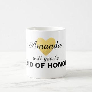 Usted será mi taza del corazón del oro de la dama
