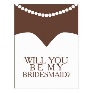 Usted será mi vestido y perlas de la dama de honor postal