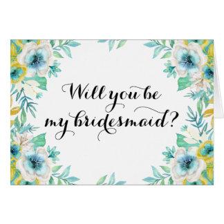 Usted será mi vintage moderno de la dama de honor tarjeta de felicitación