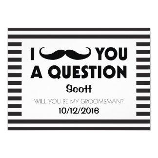 """Usted será mis rayas negras del bigote del padrino invitación 5"""" x 7"""""""