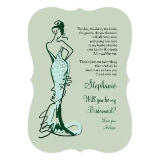"""Usted será mis tarjetas #2 de la dama de honor invitación 5"""" x 7"""""""