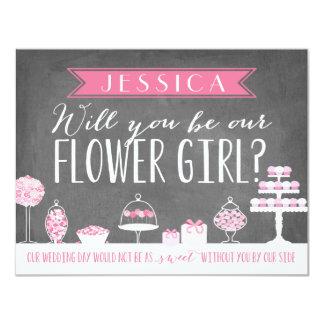 """Usted será nuestra dama de honor del florista el   invitación 4.25"""" x 5.5"""""""