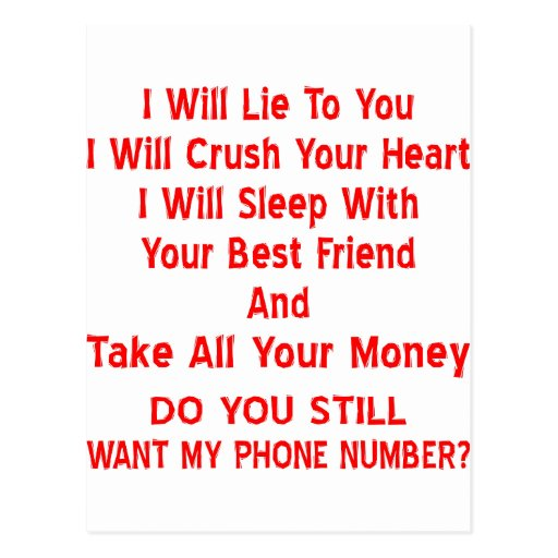 ¿Usted sin embargo quiere mi número de teléfono? Tarjeta Postal