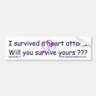 ¿Usted sobrevivirá su ataque del corazón??? Pegatina Para Auto
