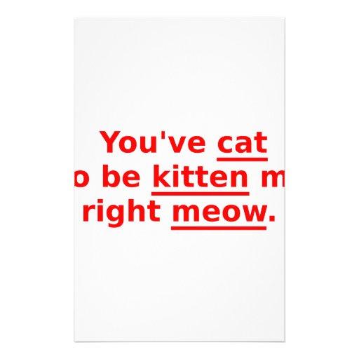 Usted tiene gato a ser gatito yo rojo personalized stationery