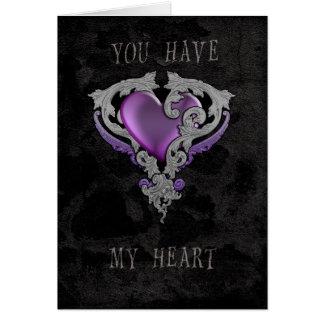 Usted tiene mi corazón tarjeta de felicitación