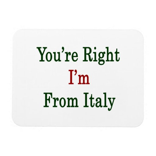 Usted tiene razón que soy de Italia Imán Rectangular