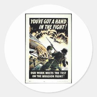 ¡Usted tiene una mano en la lucha Etiquetas Redondas