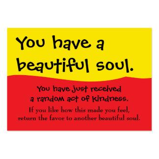 Usted tiene una paga hermosa del alma él adelante tarjetas de visita grandes