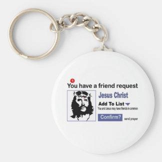 Usted tiene una petición del amigo del Jesucristo Llavero Redondo Tipo Pin