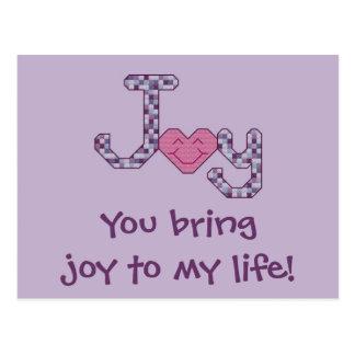 ¡Usted trae alegría a mi vida! Postal