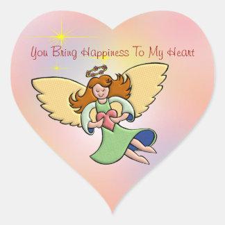 Usted trae felicidad a mi corazón pegatina en forma de corazón