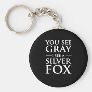 Usted ve gris, yo ve un zorro plateado llavero redondo tipo pin