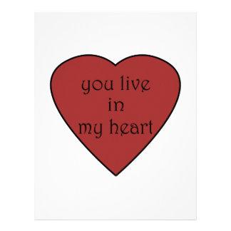 Usted vive en mi corazón membrete personalizado