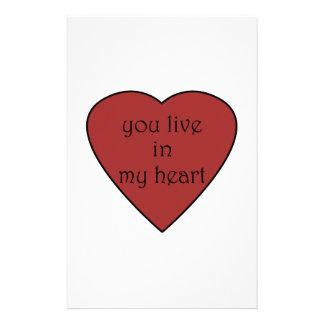 Usted vive en mi corazón papeleria de diseño
