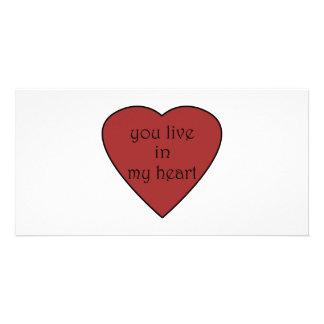 Usted vive en mi corazón tarjeta personal con foto