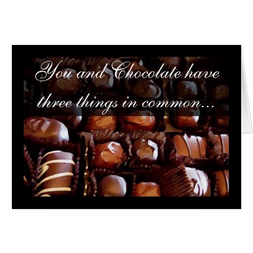 Usted y chocolate, el día de San Valentín romántic Tarjeta De Felicitación