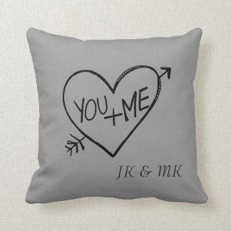 Usted y yo corazón almohadas