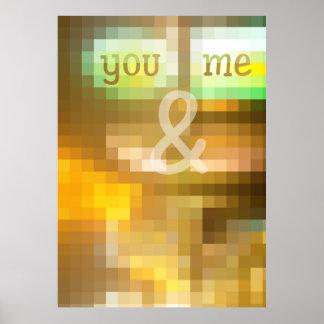 Usted y yo terroso geométrico del vitral del póster
