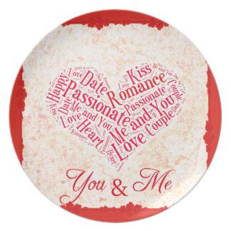 Usted y yo tipografía romántica del corazón de platos de comidas