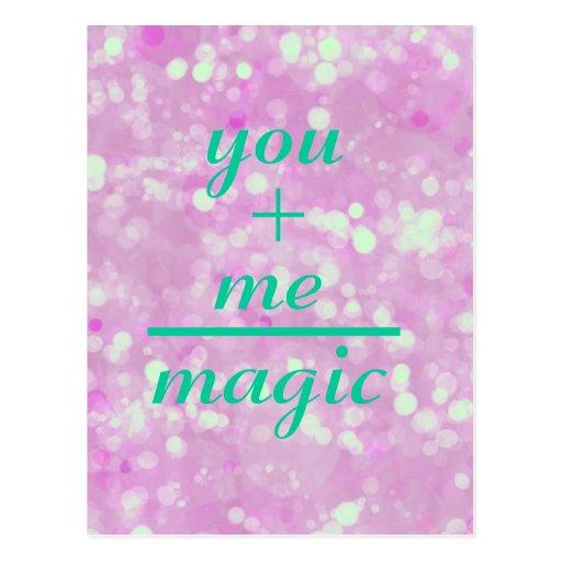 Usted +Yo cita mágica de los iguales Postales