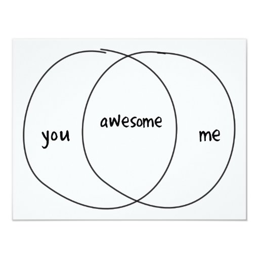 "Usted yo diagrama impresionante de Venn Invitación 4.25"" X 5.5"""
