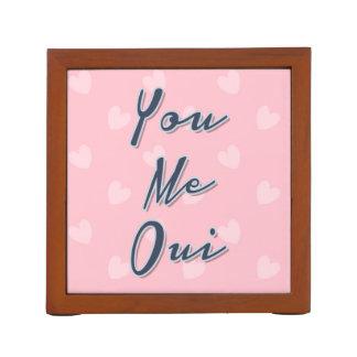 Usted yo Oui, cita del amor, modelo rosado de los Organizador De Escritorio