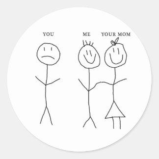 Usted yo su mamá pegatina redonda
