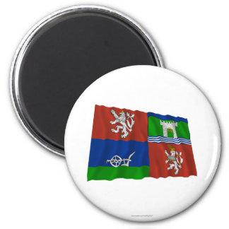 Usti nad Labem Waving Flag 2 Inch Round Magnet