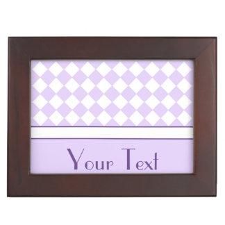 ustomizable Name Purple Diamond Checkered pattern Memory Boxes