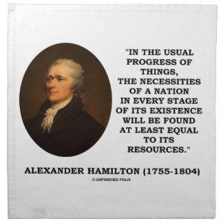 Usual Progress Things Necessities Nation Hamilton Napkin