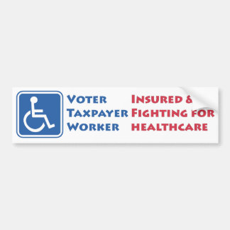 Usuario de silla de ruedas: Asegurado y luchando p Etiqueta De Parachoque