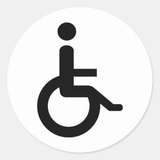 usuario de silla de ruedas etiquetas redondas