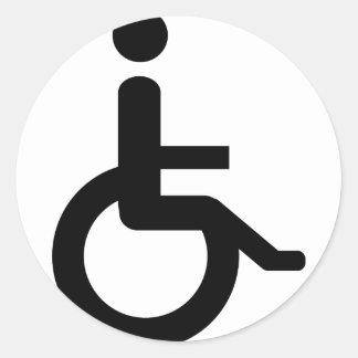 usuario de silla de ruedas pegatina redonda