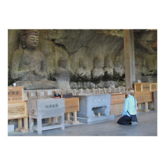 Usuki Stone Buddhas with visitor Posters