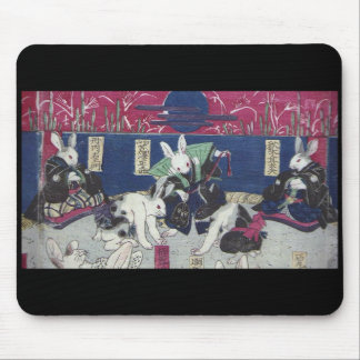 Utagawa 芳 rattan, 'sumo wrestling of rabbit' mouse pad