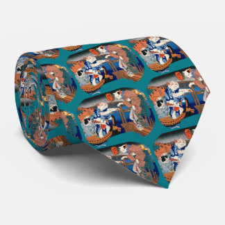 Utagawa country 芳 'enjoying the cool air of cat' neck tie