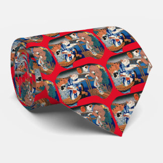 Utagawa country 芳 'enjoying the cool air of cat' tie
