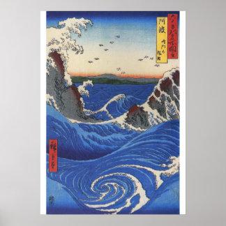 Utagawa Hiroshige, mar salvaje que se rompe en las Póster