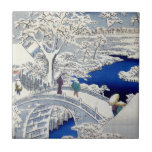 """Utagawa Hiroshige Meguro Drum Bridge and Sunset Ceramic Tile<br><div class=""""desc"""">A ukiyo-e painting by Japanese artist,  Utagawa Hiroshige,  who was considered to be the last great master of that tradition; from the series One Hundred Famous Views of Edo.</div>"""