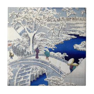 Utagawa Hiroshige Meguro Drum Bridge and Sunset Ceramic Tile
