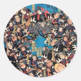 Utagawa Kunisada loyalists discussion ukiyo-e art Classic Round Sticker