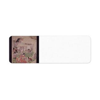 Utagawa Kunisada:Ronins attacking lord Kira house Labels