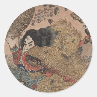 Utagawa Kuniyoshi - Kinhyoshi Yorin woodcut print Classic Round Sticker
