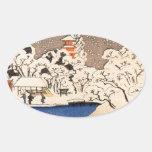 Utagawa Kuniyoshi - nieve en Senso-j Pegatinas De Óval