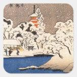 Utagawa Kuniyoshi - nieve en Senso-j Calcomanias Cuadradas