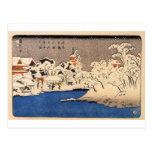 Utagawa Kuniyoshi - nieve en Senso-j Tarjetas Postales