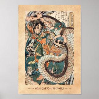 Utagawa Kuniyoshi suikoden hero fighting snake art Poster