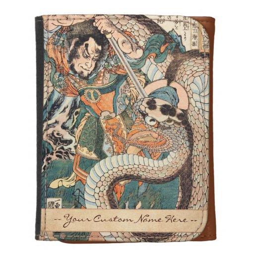 Utagawa Kuniyoshi suikoden hero fighting snake art Tri-fold Wallet