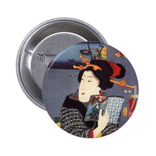 Utagawa Kuniyoshi Woman (12) Pinback Buttons